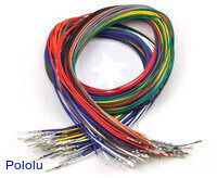 Wires with Pre-crimped Terminals 50-Piece Rainbow Assortment M-F 24""