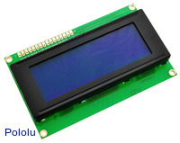 20x4 Character LCD with LED Backlight (Parallel Interface), White on Blue