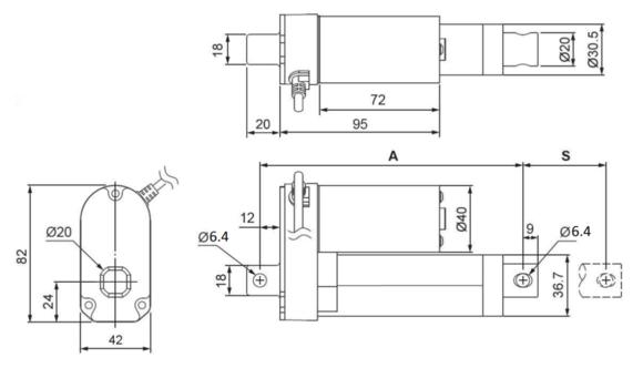 Linear Actuator: 2'' Stroke, 12V, 20:1 (LACT2-12V-20