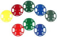 Pololu Round Robot Chassis RRC01A, color assortment.