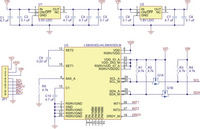 Schematic of the LSM303DLH/LSM303DLM 3D compass and accelerometer carrier with voltage regulators.