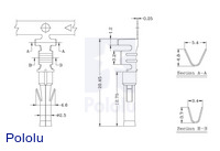 Female Tamiya connector crimp pin dimensions (in mm).