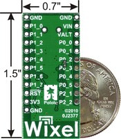 Wixel programmable USB wireless module, bottom view with US quarter for size reference.