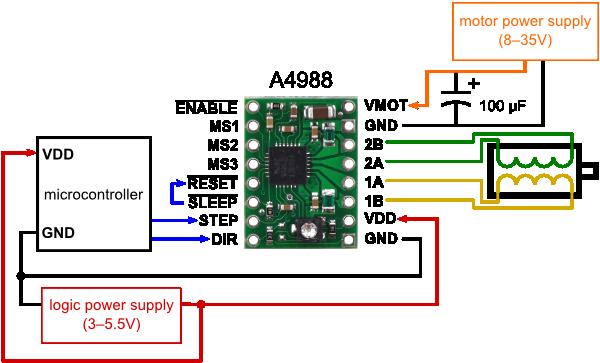 Минимальная схема соединений для подключения микроконтроллера к плате драйвера шагового двигателя на A4988...