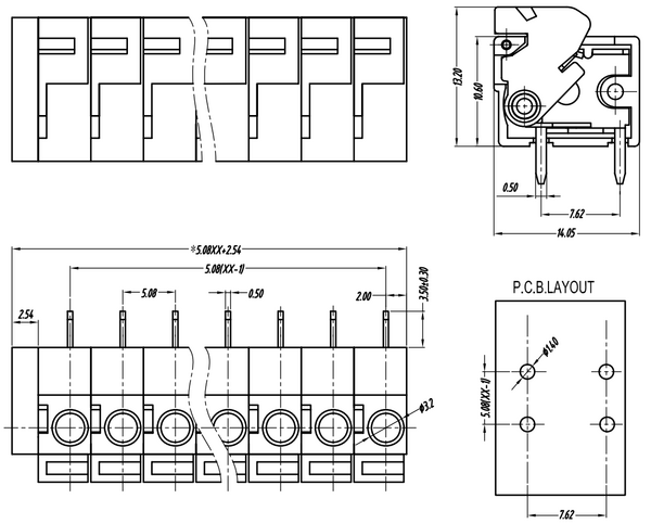 Screwless Terminal Block: 2-Pin, 0.2