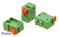 Screwless terminal blocks: 2-pin, 0.1″ pitch, side entry.