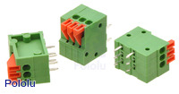 "Screwless Terminal Block: 3-Pin, 0.1"" Pitch, Side Entry (3-Pack)"