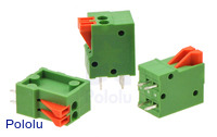 Screwless terminal blocks: 2-pin, 0.1″ pitch, top entry.