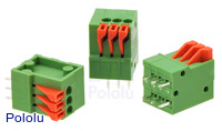 Screwless terminal blocks: 3-pin, 0.1″ pitch, top entry.