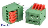 Screwless terminal blocks: 4-pin, 0.1″ pitch, top entry.