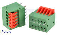 Screwless terminal blocks: 5-pin, 0.1″ pitch, top entry.