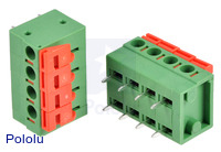 Screwless terminal blocks: 4-pin, 0.2″ pitch, side entry.