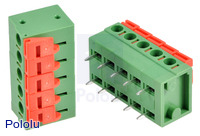 Screwless terminal blocks: 5-pin, 0.2″ pitch, side entry.
