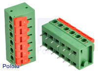 Screwless terminal blocks: 6-pin, 0.2″ pitch, side entry.