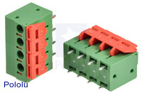 Screwless terminal blocks: 4-pin, 0.2″ pitch, top entry.