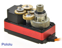 Copper and aluminum gears and ball bearings of the Power HD digital servo 1207TG.