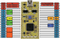 ARM mbed NXP LPC11U24 development board peripherals and pinout.