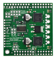 Pololu dual MC33926 motor driver shield for Arduino.