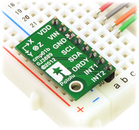 LSM303DLHC 3D compass and accelerometer carrier in a breadboard.