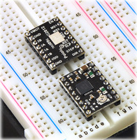 Pololu A4988 stepper motor driver carrier, Black Editions, on a breadboard.