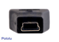 USB mini-B male connector on the USB adapter A to mini-B.
