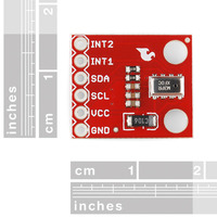 MPL3115A2 altitude/pressure sensor breakout board, with rulers for size reference.