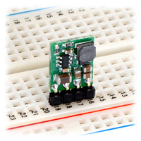 Pololu step-down voltage regulator D24VxFx in a breadboard.