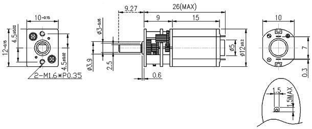 298:1 Miniature Micro Metal 45RPM Gear Motor w// 6-V Medium-Power Pololu 2208