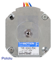 Bottom view of the 42×18.6mm Sanyo pancake stepper motor.