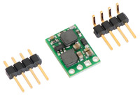 Pololu fixed-output step-up/step-down voltage regulator S10VxFx with included optional header pins.