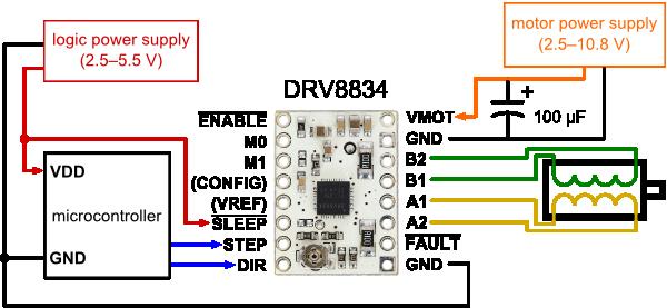 Drv8834 low voltage stepper motor driver carrier cool for Stepper motor driver circuit diagram