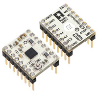 DRV8834 low-voltage stepper motor driver carriers with included header pins soldered.