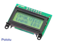 8×2 parallel character LCD – black bezel with text on display.