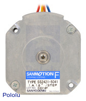Bottom view of the 42×11.6mm Sanyo pancake stepper motor.