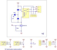 Pololu basic 2-channel SPDT relay carrier schematic diagram.
