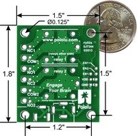 Pololu basic 2-channel SPDT relay carrier with dimensions.