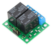Pololu basic 2-channel SPDT relay carrier with 5 VDC relays (assembled).