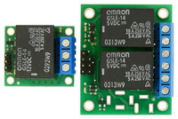 Side-by-side comparison of the single and dual versions of the Pololu basic SPDT relay carriers.