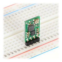 Pololu adjustable step-up voltage regulator U1V11A in a breadboard.