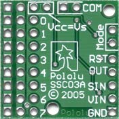 Pololu Micro Serial Servo Controller, back of PCB.