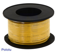 Stranded Wire: Yellow, 22 AWG, 50 Feet
