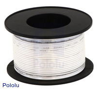 Stranded Wire: White, 26 AWG, 70 Feet