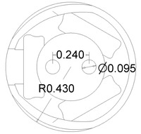 Pololu 3/4 inch plastic ball caster dimensions (unit: inch)