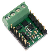 Pololu RC Switch with Medium Low-Side MOSFET with included terminal blocks and headers soldered to the component side.