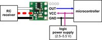 Typical wiring diagram for the Pololu RC Switch with Digital Output.