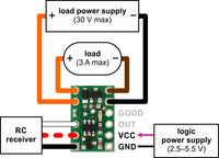 Pololu RC Switch with Small Low-Side MOSFET, typical wiring diagram.