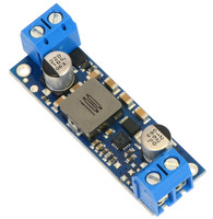Pololu fixed step-up voltage regulator U3V50Fx, assembed with included terminal blocks.