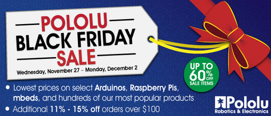 Pololu Robotics and Electronics Black Friday Sale 2013