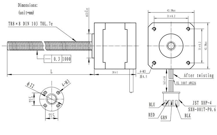 Pololu stepper motor with 28cm lead screw bipolar 200 for Nema 42 stepper motor datasheet