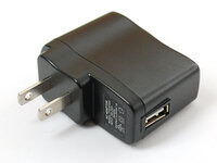 Wall Power Adapter: 5VDC, 1A, USB Port